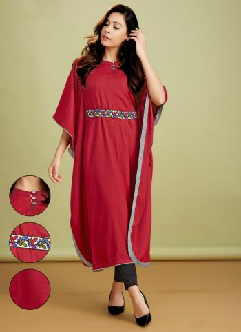 Red Rayon Casual Wear Embroidery Work Kurti