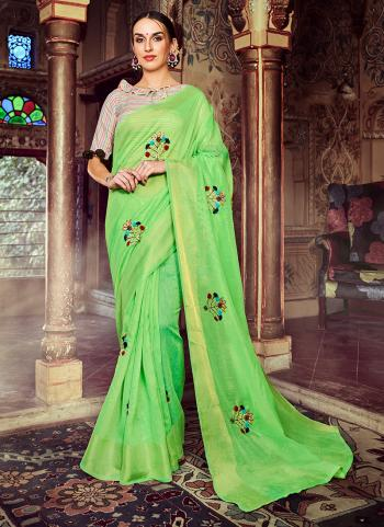 Light Green Linen Party Wear Embroidery Work Saree