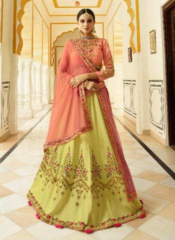 Yellow Art Silk Wedding Wear Embroidery Work Lehenga Choli