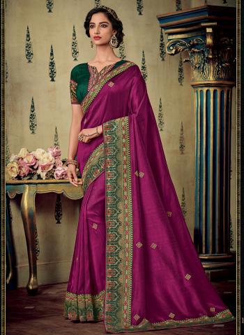 Magenta Silk Reception Wear Border Work Saree