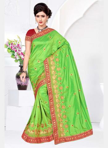 Green Silk Festival Wear Embroidery Work Saree