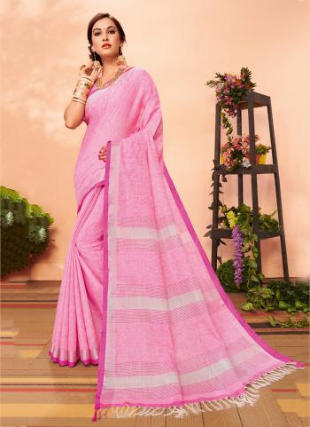 Pink Linen Regular Wear Cotton Saree