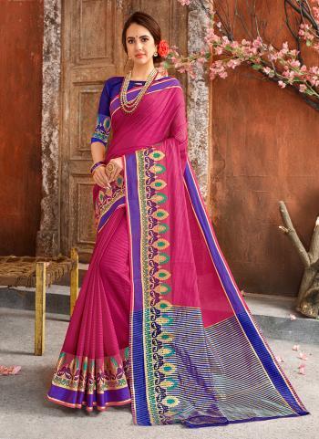 Rani Cotton Silk Casual Wear Weaving Saree