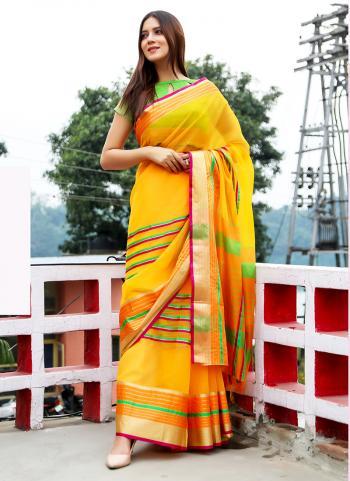 Yellow Art Silk Festival Wear Weaving Saree