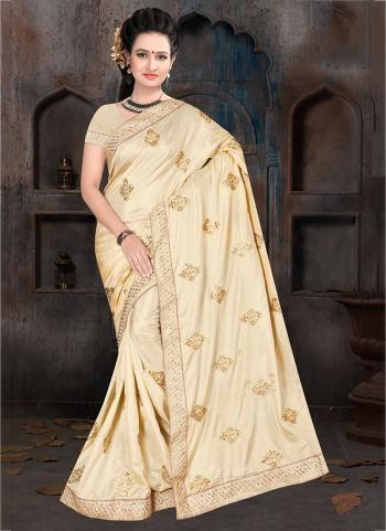 Beige Silk Traditional Wear Zari Work Saree