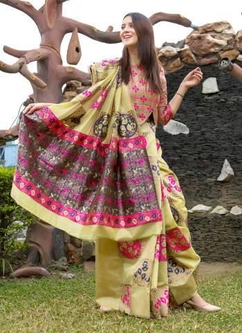 Beige Art Silk Party Wear Linen Saree
