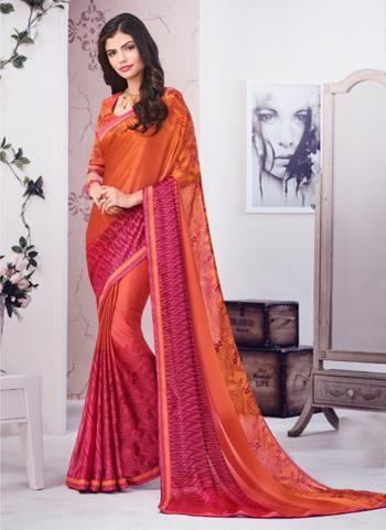 Orange Georgette Silk Casual Wear Printed Work Saree
