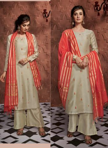 Beige Silk Casual Wear Embroidery Work Readymade Palazzo Suit