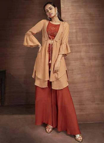 Rust Muslin Party Wear Embroidery Work Top Bottom With Shrug