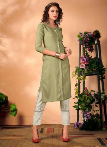 Green Rayon Office Wear Plain Kurti With Pant