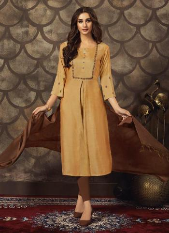 Golden Muslin Silk Casual Wear Hand Work Kurti With Dupatta