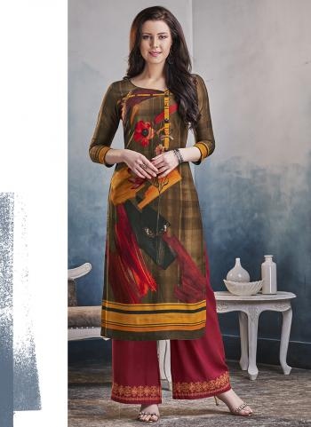 Brown Rayon Regular Wear Printed Work Kurti With Palazzo