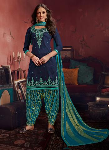 Navy Blue Jam Silk Casual Wear Embroidery Work Patiala Suit