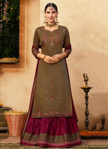 Brown Jam Silk Festival Wear Embroidery Work Lehenga Suit
