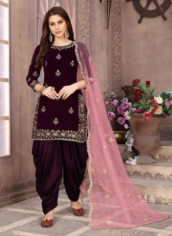 Wine Velvet Festival Wear Embroidery Work Patiala Suit