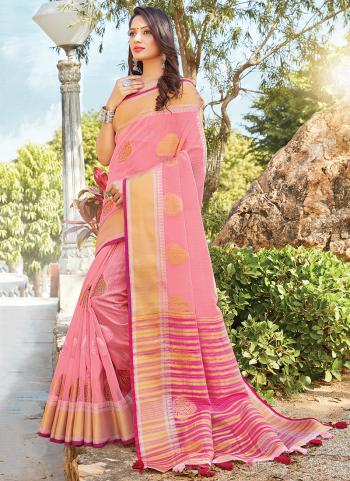 Pink Cotton Daily Wear Linen Fancy Saree