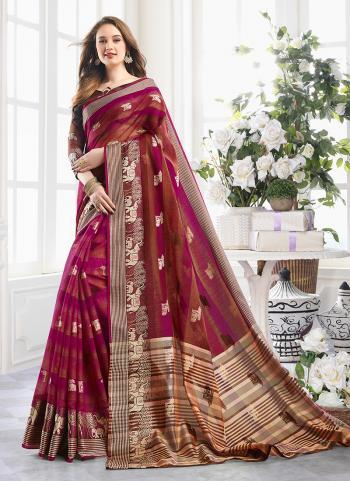 Violet Cotton Regular Wear Handloom Saree