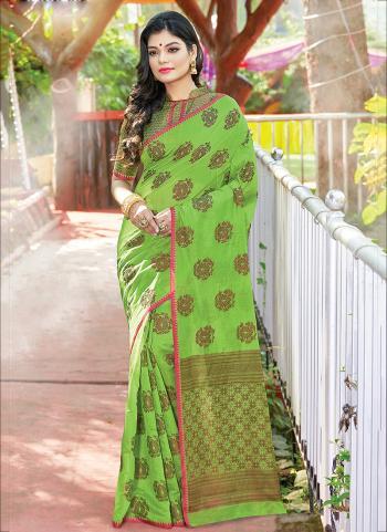 Green Cotton Casual Wear Handloom Saree