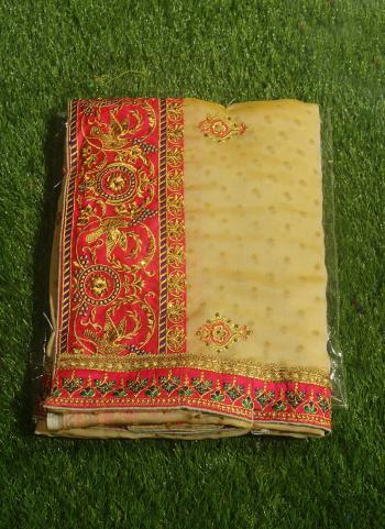 Beige Silk Traditional Wear Butti Work Saree