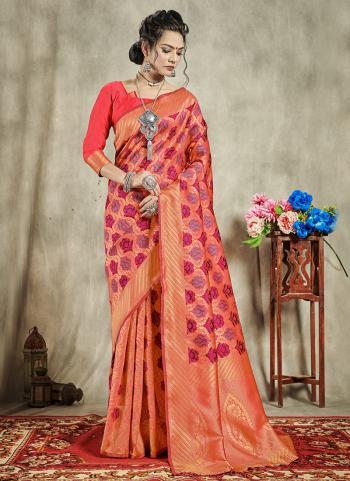 Pink Banarasi Party Wear Art Silk Saree