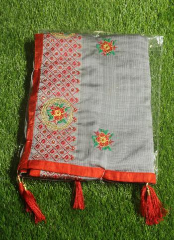 Grey Chiffon Festival Wear Embroidery Work Saree