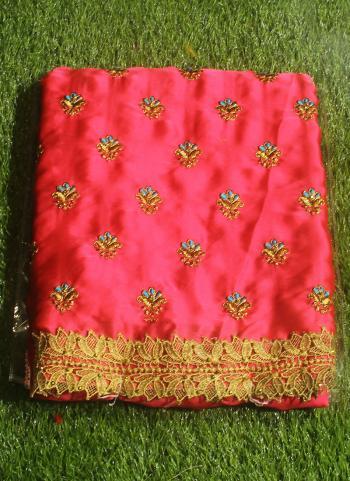 Pink Satin Party Wear Chiffon Saree