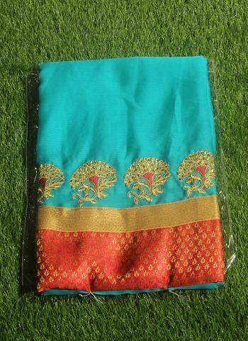 Sky Blue Chiffon Casual Wear Embroidery Work Saree