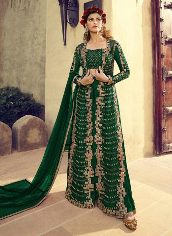 Green Silk Reception Wear Sequins Work Palazzo Suit