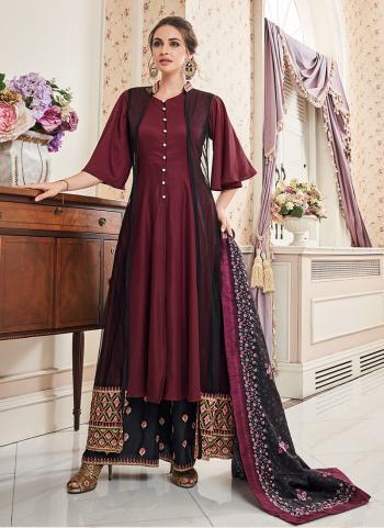 Wine Muslin Festival Wear Embroidery Work Readymade Salwar Suit