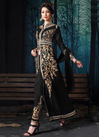 Black Georgette Party Wear Stone Work Salwar Suit