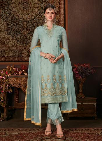 Sky Blue Net Traditional Wear Embroidery Work Salwar Suit