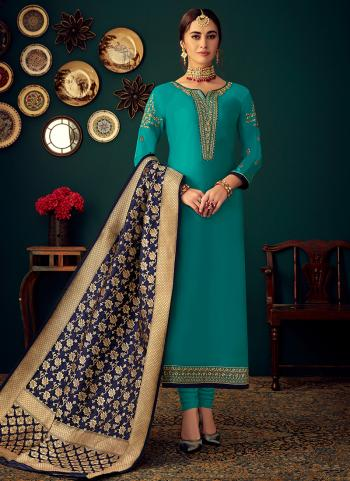 Sky Blue Cotton Satin Festival Wear Embroidery Work Churidar Suit