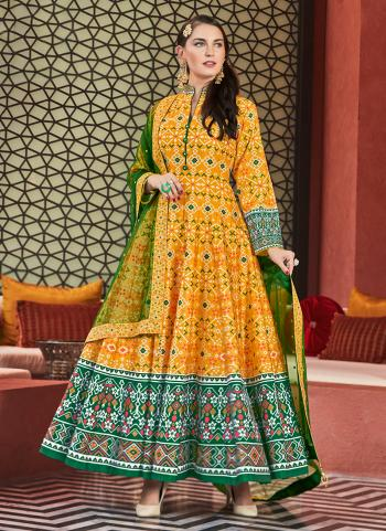 Yellow Silk Party Wear Printed Readymade Anarkali Suit