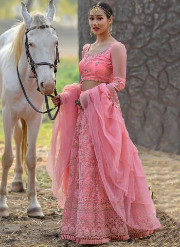 Pink Net Wedding Wear Resham Work Lehenga Choli