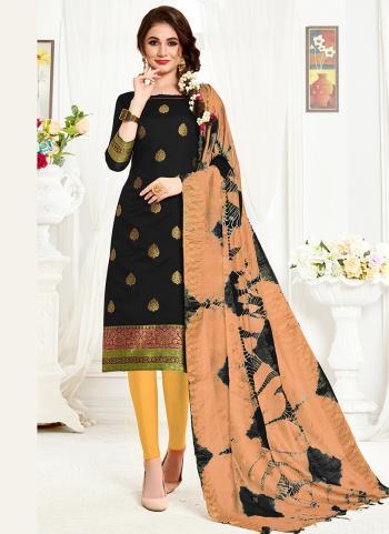 Black Banarasi Silk Casual Wear Weaving Churidar Suit
