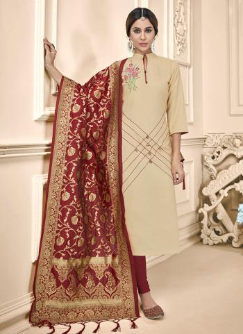 Beige Cotton Daily Wear Embroidery Work Churidar Suit