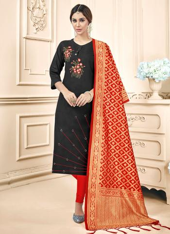 Black Cotton Daily Wear Embroidery Work Churidar Suit