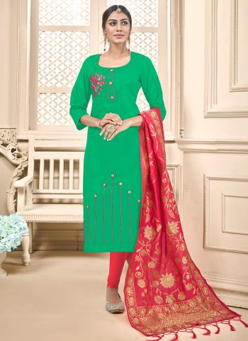 Green Cotton Daily Wear Embroidery Work Churidar Suit