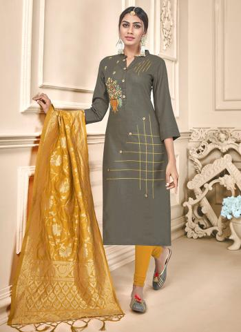 Grey Cotton Daily Wear Embroidery Work Churidar Suit