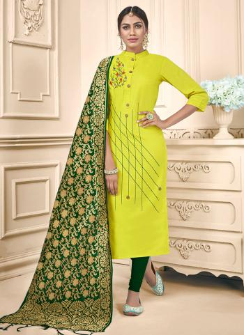 Light Green Cotton Daily Wear Embroidery Work Churidar Suit