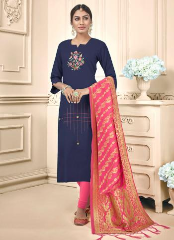 Navy Blue Cotton Daily Wear Embroidery Work Churidar Suit