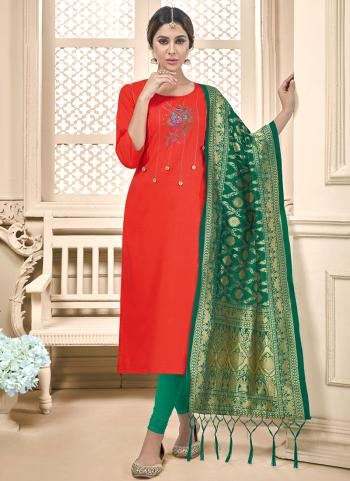 Red Cotton Daily Wear Embroidery Work Churidar Suit
