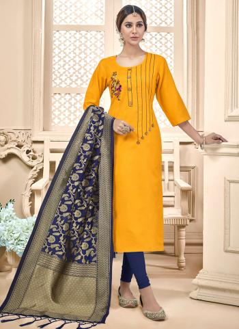 Yellow Cotton Daily Wear Embroidery Work Churidar Suit