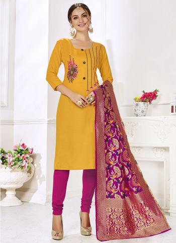 Yellow Cotton Casual Wear Embroidery Work Churidar Suit