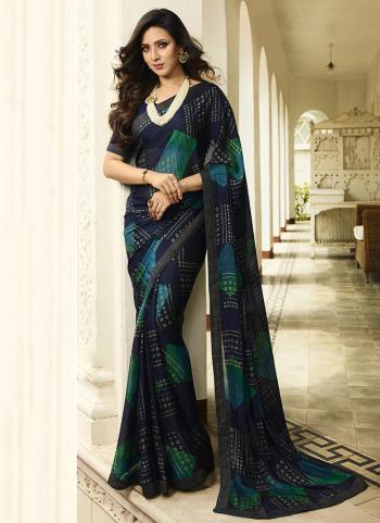 Navy Blue Rangoli Daily Wear Printed Work Saree