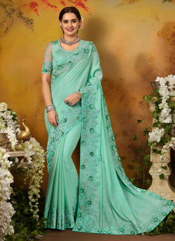 Pista Green Silk Party Wear Embroidery Work Saree