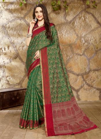 Green Linen Festival Wear Jacquard Printed Saree