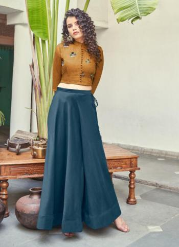 Blue Silk Party Wear Embroidery Work Top With Skirt