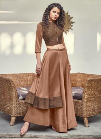 Brown Jacquard Party Wear Butti Work Top With Skirt