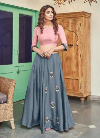 Grey Satin Party Wear Embroidery Work Top With Skirt